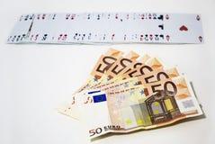 Euro en speelkaarten, het gokken het winnen concept Royalty-vrije Stock Foto's