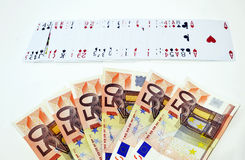 Euro en speelkaarten, het gokken het winnen concept Royalty-vrije Stock Afbeeldingen