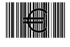 Euro en streepjescode Royalty-vrije Stock Foto's
