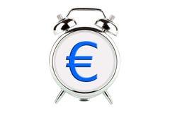 Euro en un reloj de alarma Fotografía de archivo libre de regalías
