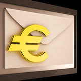Euro On Envelope Showing Money Exchange Stock Photo