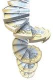 Euro escaliers de pièce de monnaie Photos stock