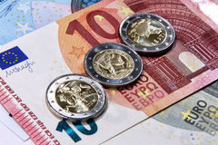 2 euro estonia, latvia, lithuania, baltic euro countries. Original photo 2 euro from baltic countries royalty free stock images