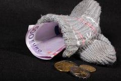 Euro- estoque de dinheiro em uma peúga Fotografia de Stock Royalty Free