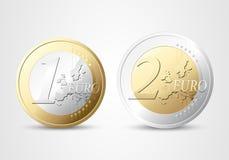 euro 1 et 2 Image stock