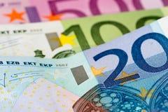 euro 20, 100 et 500 Photographie stock