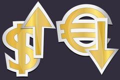 Euro et dolar Photos libres de droits