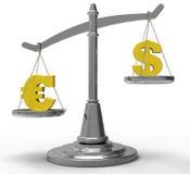 Euro et dollar appareillés sur l'échelle Image stock