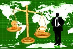 Euro et dollar de équilibrage d'échelle avec l'homme d'affaires Images stock