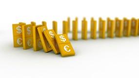 Euro et dollar de domino d'or Photo libre de droits