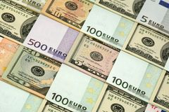 Euro et dollars Images libres de droits