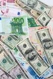 Euro et dollars Photos libres de droits