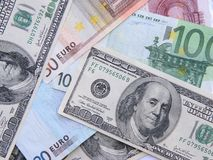 Euro et dollars Images stock