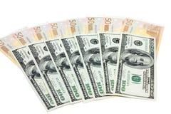 Euro et dollars Images stock