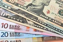 Euro et dollars Photographie stock