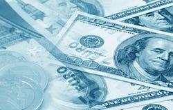 Euro et dollars (bleu modifié la tonalité) Photos libres de droits