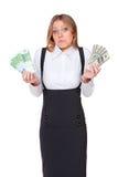 Euro et dollars de fixation de femme Photo stock