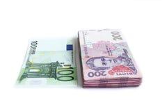 Euro et les grivnas ukrainiens Images stock