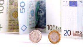 Euro et polonaise devise Images libres de droits