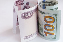 Euro et russe argent Image stock