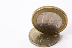 Euro et russe rouble images stock