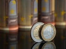 Euro ett och två Royaltyfri Fotografi