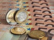 Euro ett och två Royaltyfri Foto
