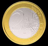 2 Euro: EU currency coin. On black. Large resolution Stock Photos