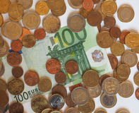 Euro-EUR-Banknoten und Münzen, EU der Europäischen Gemeinschaft Stockbilder