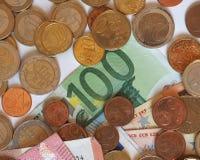 Euro-EUR-Banknoten und Münzen, EU der Europäischen Gemeinschaft Stockfoto