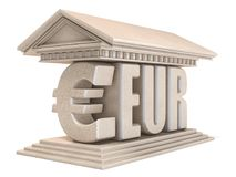 Euro EUR currency sign temple 3D. Render illustration isolated on white background Stock Images