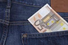 Euro (EUR) in een zak Royalty-vrije Stock Afbeeldingen