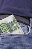 Euro (EUR) i ett fack Royaltyfria Foton