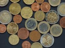 Euro (EUR) monete, valuta di Unione Europea (UE) Fotografia Stock Libera da Diritti