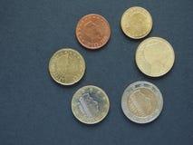 Euro (EUR) monete, valuta di Unione Europea (UE) Immagini Stock Libere da Diritti
