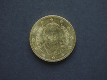 Euro & x28; EUR& x29; muntstuk, munt van Europese Unie & x28; EU& x29; Royalty-vrije Stock Afbeeldingen