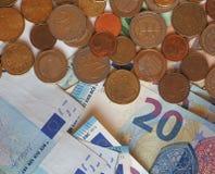 Euro EUR-nota's en muntstukken, Europese Unie de EU Royalty-vrije Stock Afbeeldingen