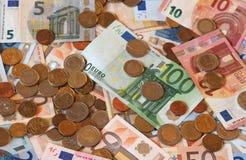 Euro EUR-nota's en muntstukken, Europese Unie de EU Royalty-vrije Stock Foto's