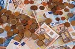 Euro EUR-nota's en muntstukken, Europese Unie de EU Royalty-vrije Stock Foto