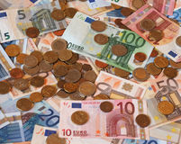 Euro EUR notes and coins, European Union EU Royalty Free Stock Images