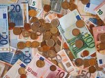 Euro EUR notes and coins, European Union EU Stock Photo