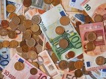 Euro EUR notes and coins, European Union EU Stock Image