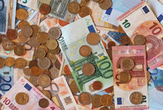 Euro EUR notes and coins, European Union EU Stock Image