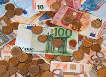 Euro EUR notes and coins, European Union EU Stock Images