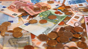 Euro EUR notes and coins, European Union EU Royalty Free Stock Image