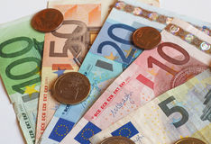 Euro EUR notes and coins, European Union EU Royalty Free Stock Photos
