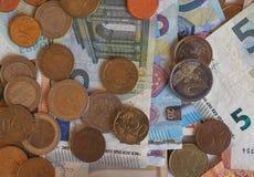 Euro EUR notes and coins, European Union EU Royalty Free Stock Photos