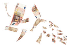 50 Euro Euro banknotes Flying. 3d render Fly Fifty Euro banknotes close-up (isolated on white and clipping path Stock Photos