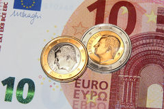 1 euro, 2 euro king felipe ii 2015 coins. Original photo 1 euro, 2 euro bimetallic coin from spain, felipe II new king stock photo