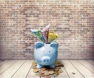 Euro. Money piggybank wealthy secure economy save Royalty Free Stock Photography